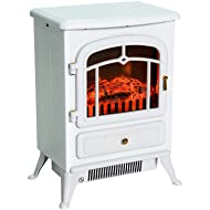 """HomCom 16"""" 1500W Compact Freestanding Electric Wood Stove Fireplace Heater With Realistic LED Flames - White"""