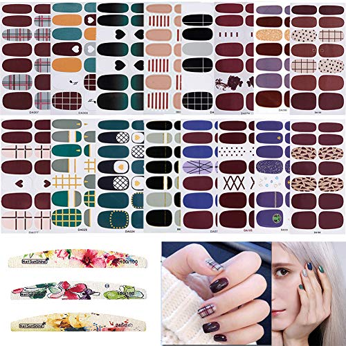 16 Sheets Full Wraps Nail Polish Stickers,Self-Adhesive Nail Art Decals Strips Manicure Kits With 3Pc Nail Buffers Files for Women Girls