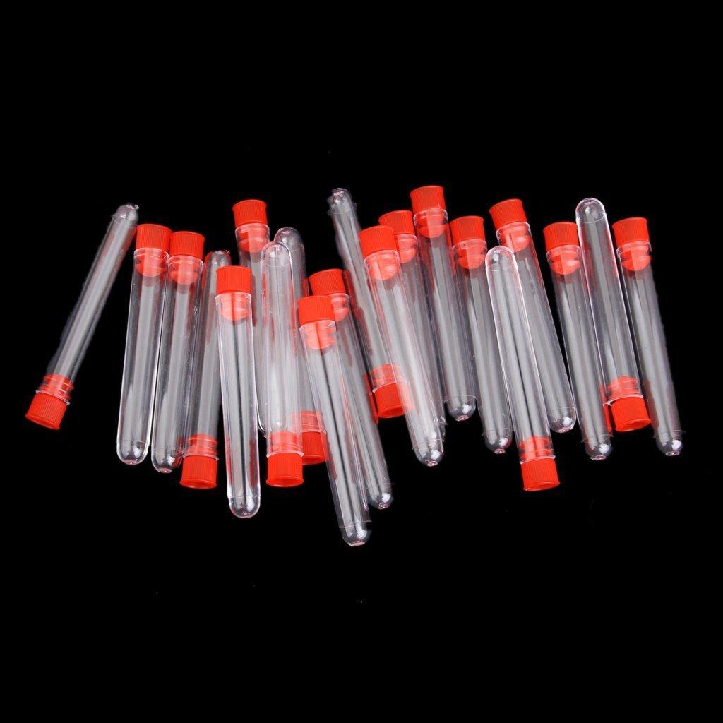 12 x 75mm Switty 20pcs Non-Graduated Plastic Test Tubes with Random Color Screw Cap