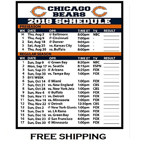 2018 Chicago Bears NFL Football Schedule and Scores Refrigerator Magnet #505 ()