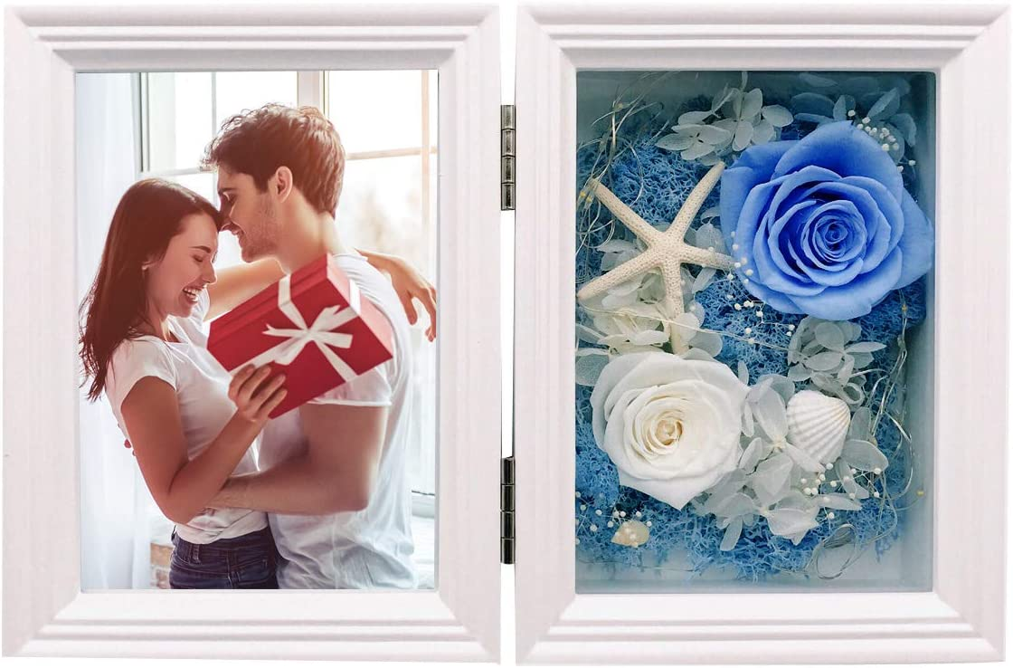 MINCHEDA Flores Preservadas Marco de Fotos con Luz, Rosa Eterna Regalo para el día de San Valentín, Aniversario, Cumpleaños, 13x18cm