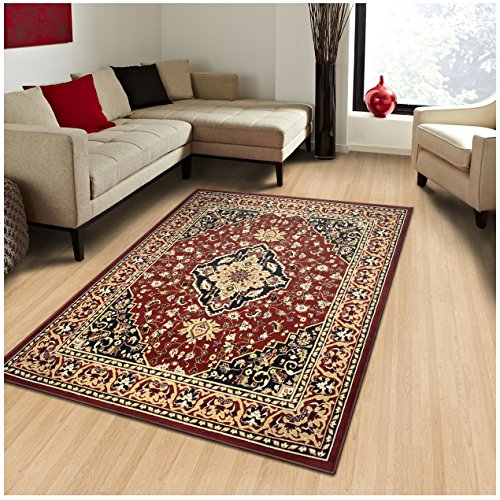 Cheap Superior Elegant Glendale Collection Area Rug, 8mm Pile Height with Jute Backing, Traditional Oriental Rug Design, Anti-Static, Water-Repellent Rugs, 5′ x 8′ Rug, Red