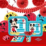 Disney Mickey Mouse 1st Birthday Party Supplies - Tableware and Decoration Party Pack for 16 Guests