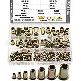 CO RODE Rivet Nut M3 M4 M5 M6 M8 M10 M12 Threaded Rivetnut Insert Nutsert, 190-Pack