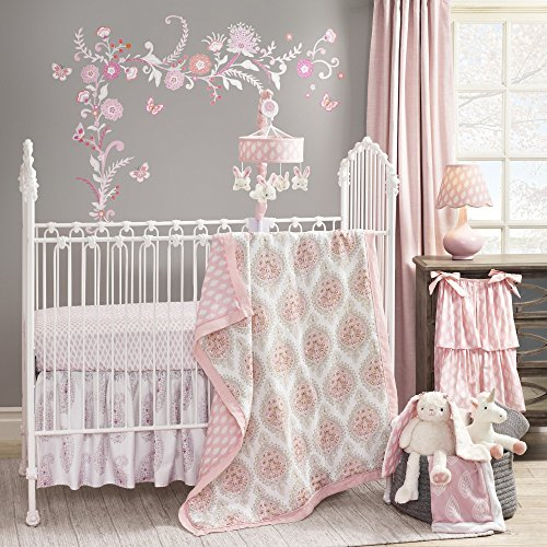 Lambs & Ivy Happi by Dena Charlotte Paisley Medallion Lattice 5-Piece Crib Bedding Set - Pink/Gray/White