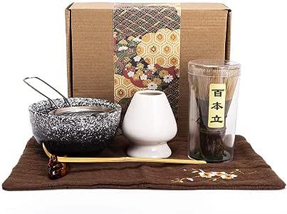 Bamboo Matcha Tea Whisk Set (Chasen) Matcha Bowl (Chawan) Bamboo Scoop (Chashaku) Ceramic Whisk Holder Handmade Matcha Ceremony Starter Kit for Traditional Japanese Tea Ceremony (7 Pcs)