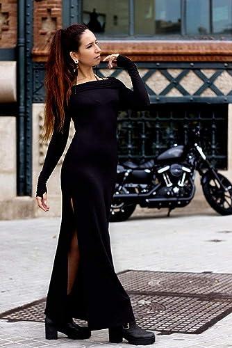 dd863cd6e521 Amazon.com: Black dress - goth dress, tribal fusion, pagan clothing,  bohemian dress, post apocalyptic: Handmade