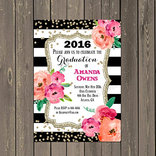 Amazon black and white striped floral watercolor graduation black and white striped floral watercolor graduation invitation with gold glitter look set of 10 printed invitations filmwisefo
