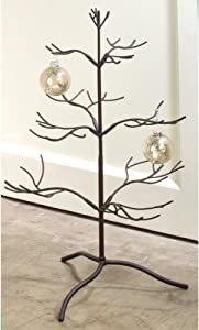 """Tripar Mahogany Metal Ornament Display Tree and Jewelry Organizer – 25"""" Wire Ornament Stand and Necklace Holder Décor with 3 Tiers of Branches, Perfect for Wrought Iron Trees"""