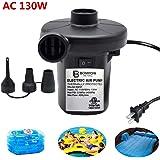 Electric Air Pump for Inflatables Air Mattress Pump Air Bed Pool Toy Raft Boat Quick Electric Air Pump Black (AC Pump(130W))