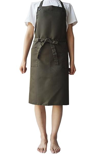 LeerKing Delantal de cocina de lino y algodón, sin mangas, ajustable, sin mangas
