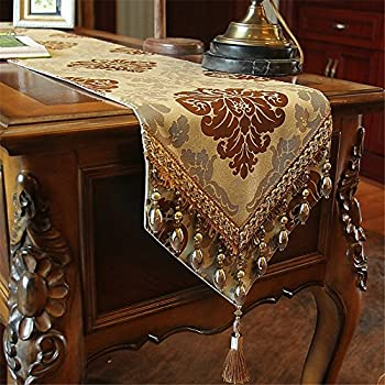 Hoomy European Jacquard Floral Table Runners Modern Luxury Table Runner  Fashion Beaded Table Runner With Tassel