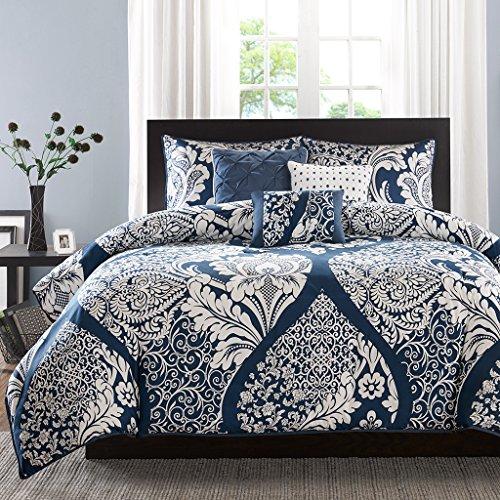 Madison Park Vienna Duvet Cover Full/Queen Size - Indigo Blue, Damask Duvet Cover Set – 6 Piece – Cotton Light Weight Bed Comforter Covers