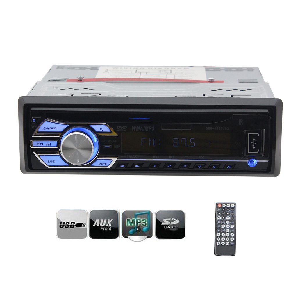 EinCar 1 Din Car Stereo Headunit Autoradio Deck New Design In Dash Car DVD CD Player LCD Screen Audio FM Radio With USB SD AUX Input MP3 Free Wireless Remote Control