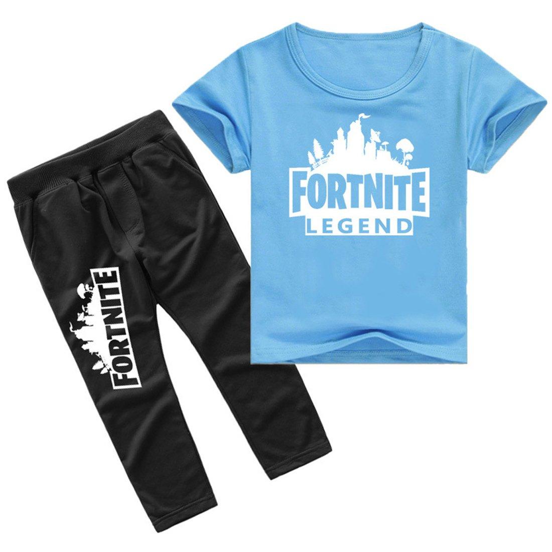 EMILYLE Unisex Fnite Conjunto De Camiseta Y Pantalones Casual Personajes Figura Impresa para Niños.