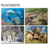 CEIEC3D 3D Plastic Place Mats Set of 4 Easy to Clean Stain Resistant Anti-skid Kitchen Tablemats for Dining Table (Wild Animals)