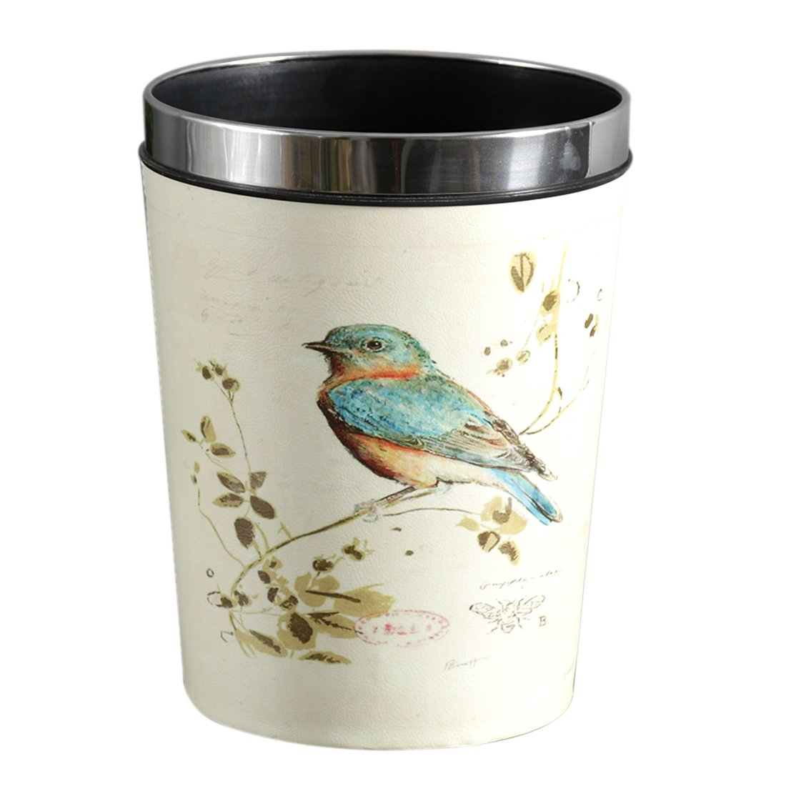 mingcheng 12L Height 31.5CM Waterproof Garbage Can European Style Waste Container Trash Bird Pattern