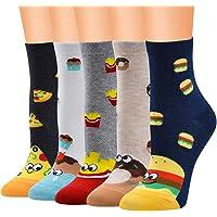 5 Pares Calcetines Estampados Mujeres, Divertidos Animales Lindos Estampados Calcetines Mujeres Ocasionales Calcetines…