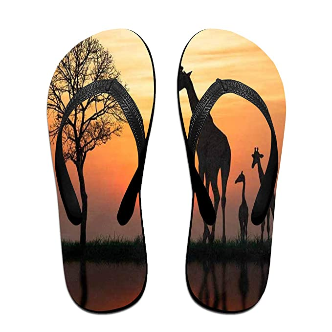 0096d502ffa6 Flip Flops Silhouette Of Giraffe With Reflection In Water Women s Indoor  Slippers Thong Sandals For Girls