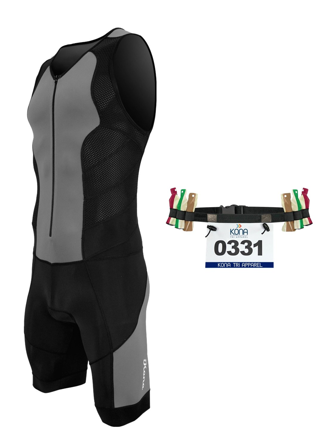 Kona II Men's Triathlon Suit - Sleeveless Speedsuit Skinsuit Trisuit with Storage Pocket and Bonus Race Bib Belt (Charcoal/Black, Small)