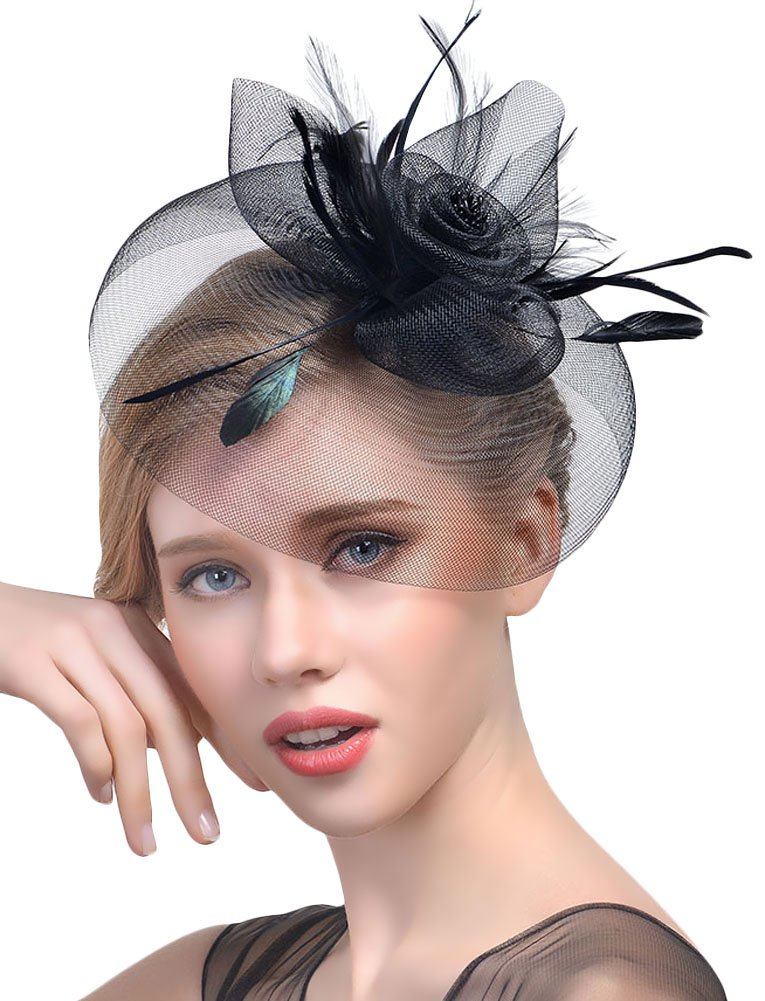 Urban CoCo Women's Elegant Flower Feather and Veil Fascinator Cocktail Party Hair Clip Hat EX-HA5199-BE