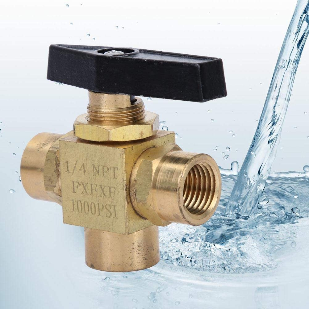 1//4 F NPT Ball Valve High Pressure 1500psi 3 Way Female NPT 1//8 1//4 3//8 Brass Ball Valve