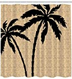 Ambesonne Palms Matting Shower Curtain, Waterproof Fabric Polyester, Exclusive Design