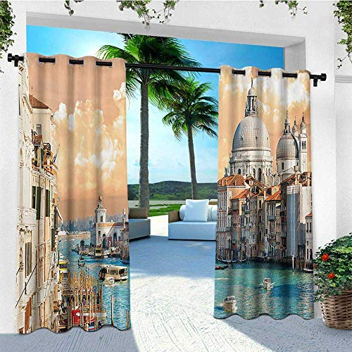 leinuoyi European, Outdoor Curtain Pole, Grand Canal in Venice Italy Historic European Cityscape Town Tower Boho Print, Fashions Drape W96 x L108 Inch Multicolor