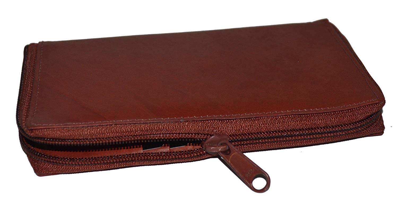 Burgundy NEW    Checkbook Credit card Holder wallet Zippered Genuine Leather
