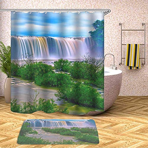 - Pretty Cool Shower Curtain Safari Set, Waterproof Bathroom Decor Polyester Fabric 70 x 79 Inches with Hooks and Anti-Slip 40 x 60cm Bath Mat-438.Water Falls Surrounding Green Grass during Daytime