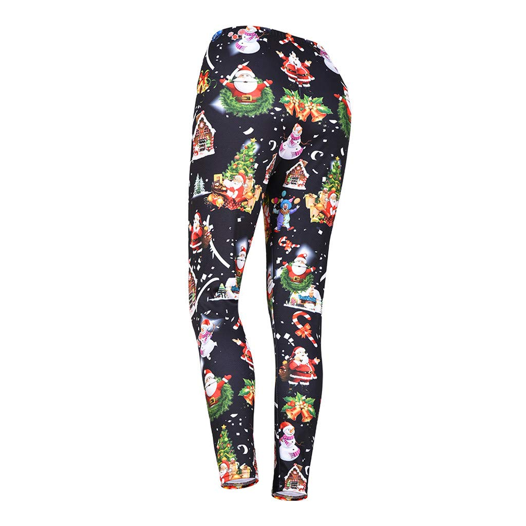 9752d24cb296d Amazon.com: Clearance Womens Christmas Yoga Legging 3D Print Middle Waist  Stretchy Party Pants Sport Fitness Athletic Tights Pants: Clothing