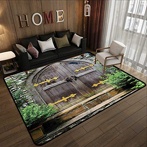 Floor mat,Rustic,Unique Castle Traditional Middle Age Heritage Fairy Doorway Aged Entrance Picture,Brown Green 47