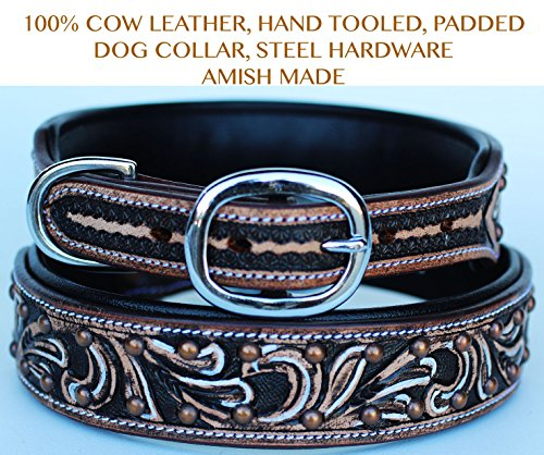 PRORIDER Large 21''- 25'' Rhinestone Dog Puppy Collar Crystal Cow Leather 6016