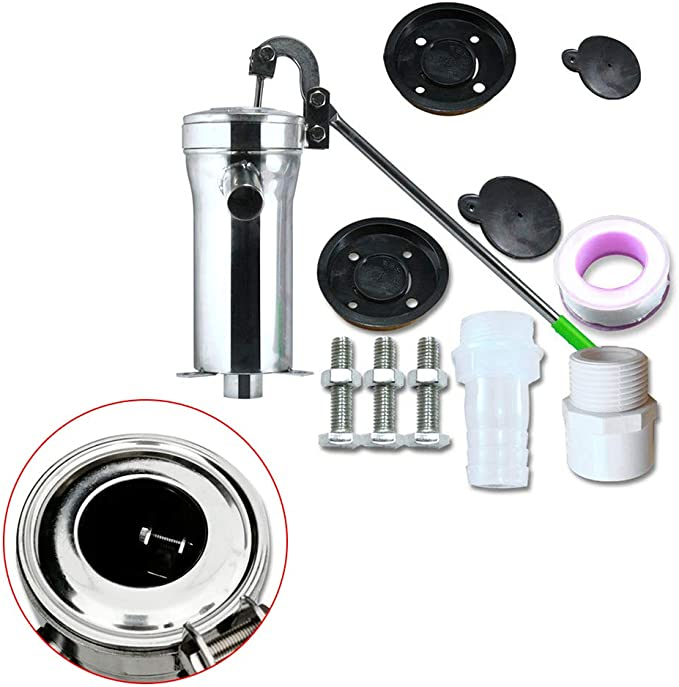 DYRABREST Stainless Steel Deep Well Water Pump Hand Shake Suction Pump Munual Well Pump Domestic Outdoor Groundwater for Home Garden Yard