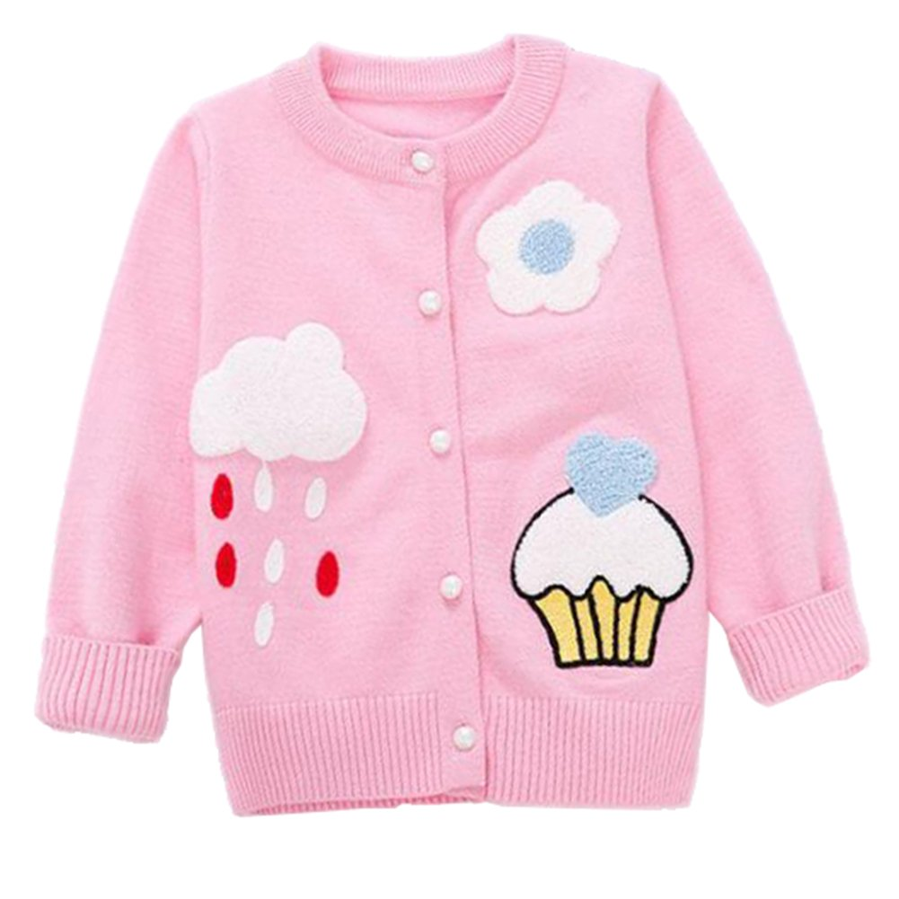 Baby Little Girls Long Sleeve Cardigan Knit Sweaters Kids Cloud Sweater Jacket Button-Down Pink 130