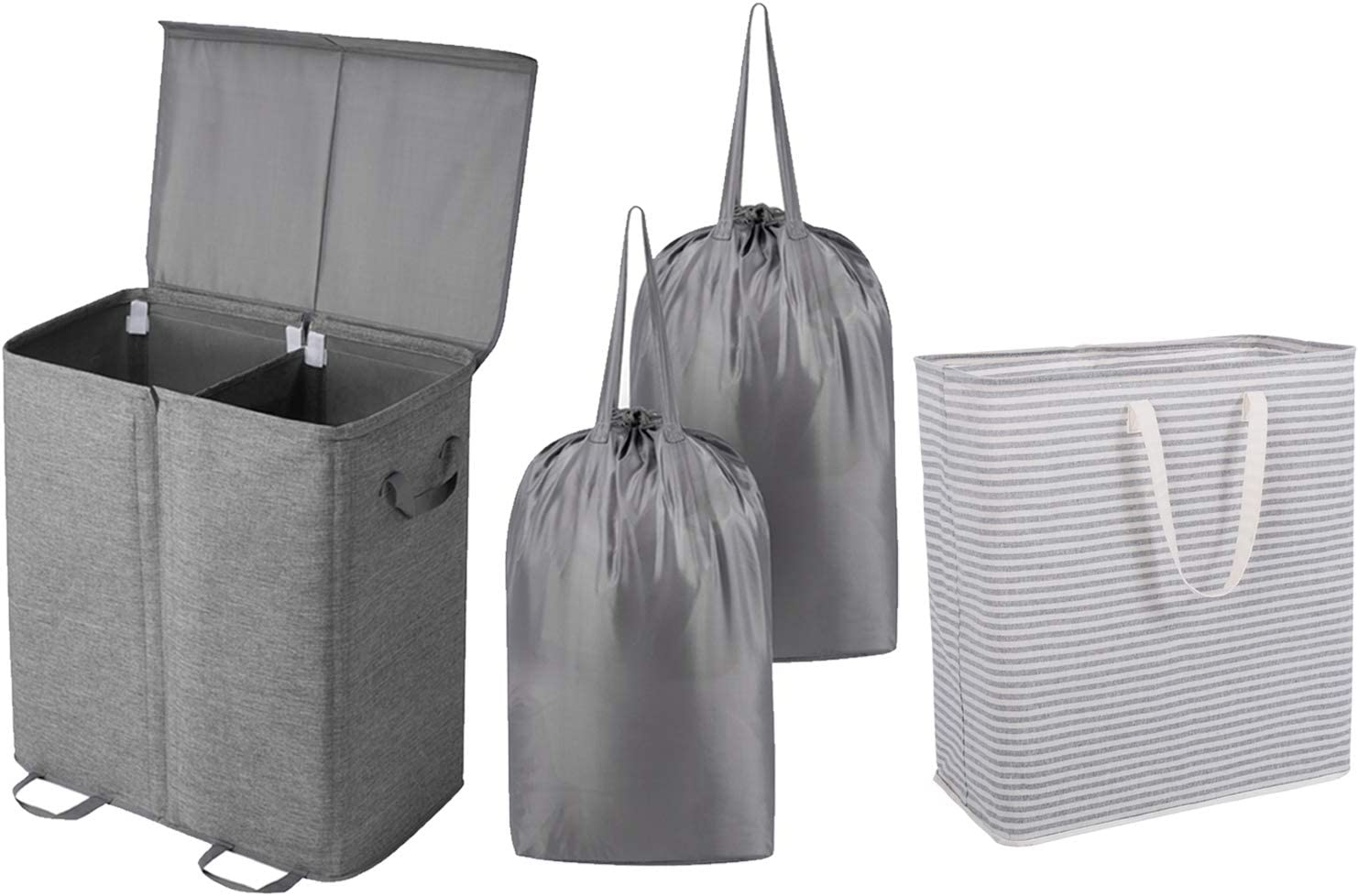 Lifewit Double Laundry Hamper with Lid and Removable Laundry Bags Grey 100L Freestanding Laundry Hamper Collapsible Extra Large Clothes Basket Grey