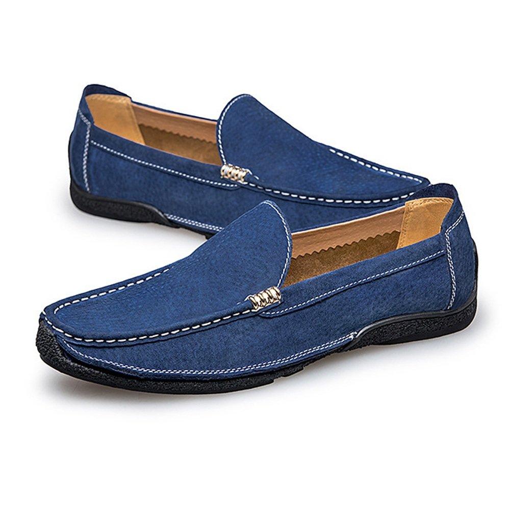 BBethun Männer Driving Loafers Handarbeit Suture Boot Wildleder Echtes Leder Penny Boot Suture Mokassins Mode Business Mokassins Schuhe Slip auf Flache Schuhe (Farbe : Schwarz, Größe : 43 EU) Blau 42adf0