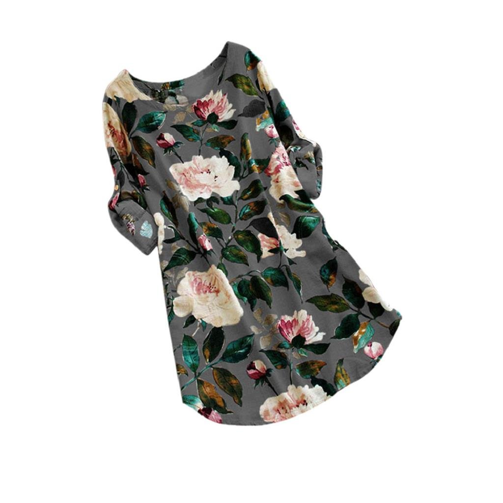 HGWXX7 Women Casual Plus Size Floral Print Long Sleeve Linen Mini Party Dress YYC-971007