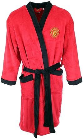 Mens Official MANCHESTER UNITED Football Fleece Dressing Gown Bathrobe S M L XL