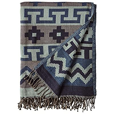 """Stone & Beam Lightweight Cotton Southwest-Inspired Decorative Throw Blanket, 50"""" x 70"""", Blue - This Southwest-inspired lightweight throw makes a perfect wall hanging for a lakeside cabin, or an eye-catching drape over a sofa in a rustic-style room at home. Fringed ends add additional interest and texture to the high-contrast Southwestern style. 50"""" x 70"""" Cotton - blankets-throws, bedroom-sheets-comforters, bedroom - 61rRbsf KhL. SS400  -"""