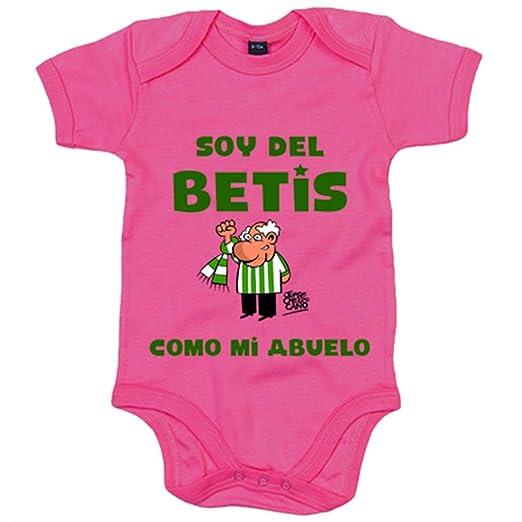 Body bebé Real Betis soy del Betis como mi abuelo - Amarillo, 6-12 meses: Amazon.es: Bebé