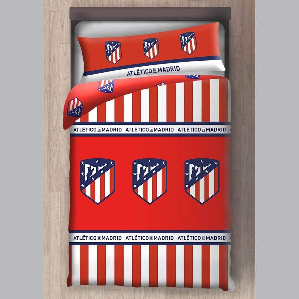 Atlético de Madrid Funda Nórdica 2 Piezas (Funda Nórdica y Funda de Almohada) (90 cm)