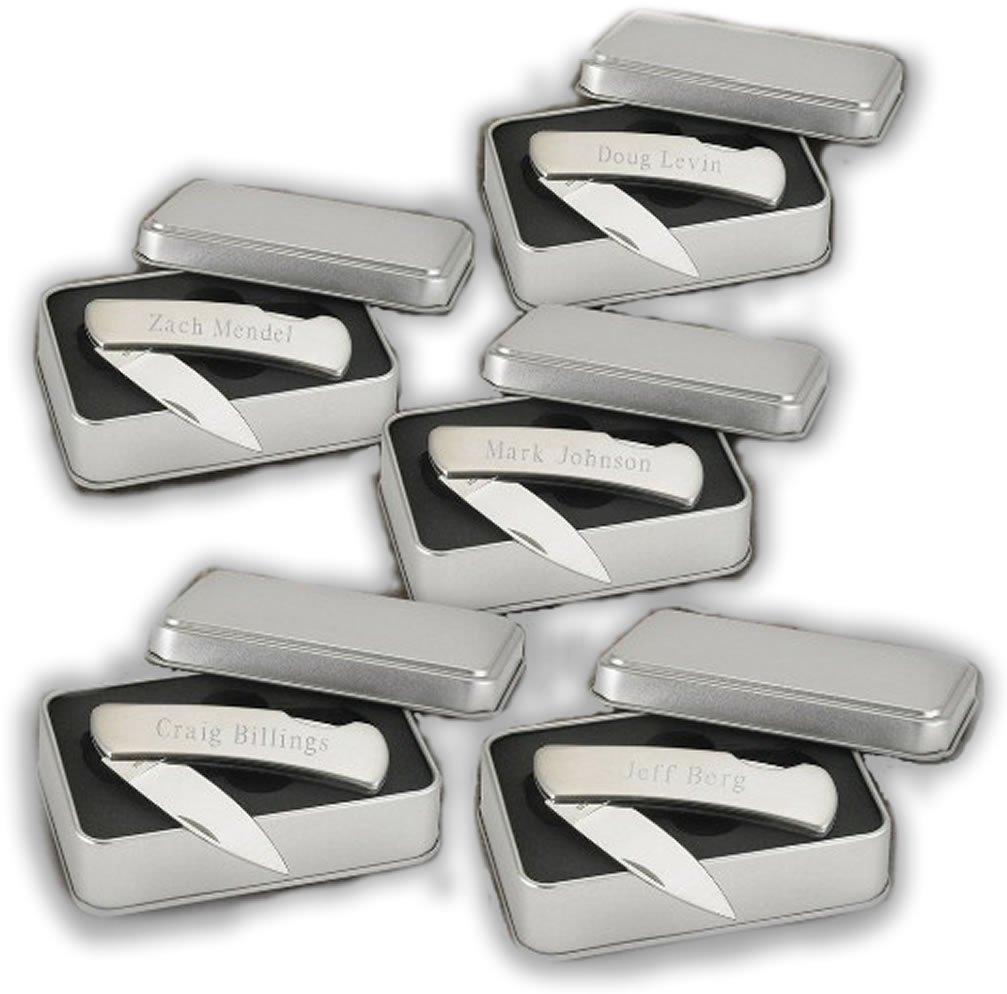 5 Custom Personalized Engraved Pocket Knives - Folding Lock Back Knives - Groomsmen / Corporate Gifts