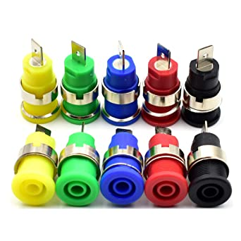 1set 5pc 5 Colors Connector M12 Binding Post 4mm Banana Jack Female Audio Power
