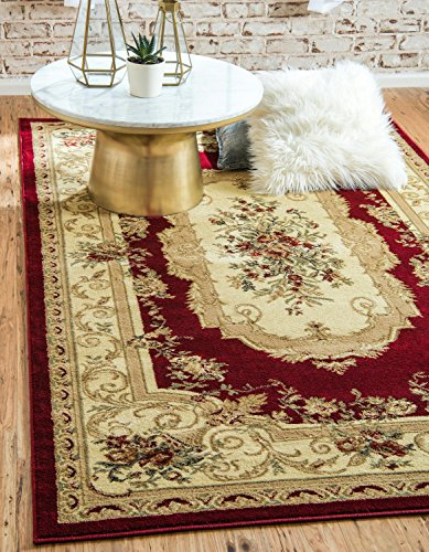- Unique Loom Versailles Collection Traditional Classic Red Area Rug (5' x 8')