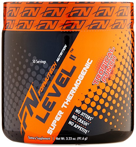 Formutech Nutrition niveau II Super thermogénique, l'énergie propre Pre Workout brûleur de graisse avec Suppression de l'appétit, Punch Tropical, 50 portions