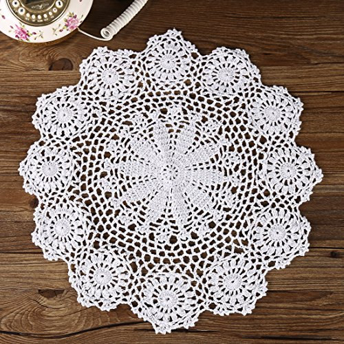 ZORJAR Handmade 100%Cotton Crochet Table Place Mats Doily (40CM, White)