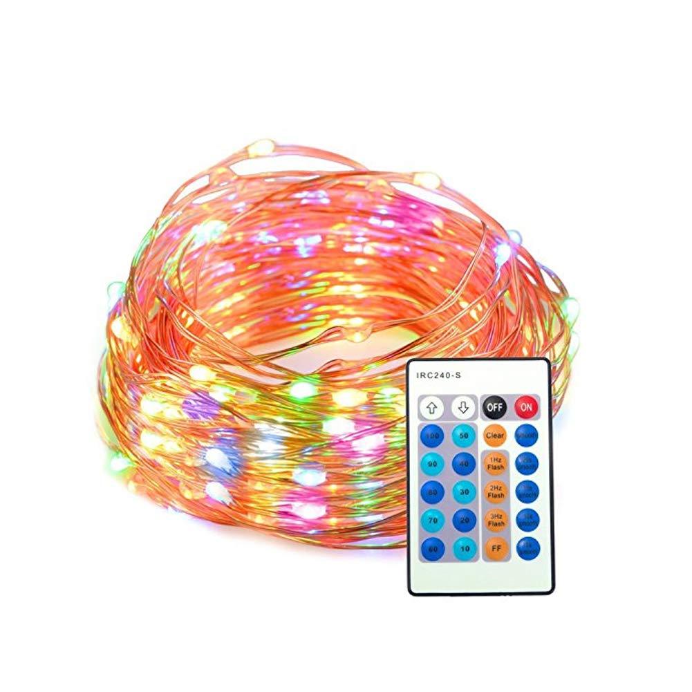 YaptheS LED Colorati String Filo di Rame di Controllo remoto Lights100Leds Regolabili Stellato Completo luci 10m Impermeabile Telecomando con Patio Esterno la casa luci Decorative e Luce Interna di