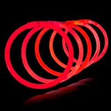 "8"" Lumistick Glowsticks Glow Stick Bracelets RED (Tube of 100)"
