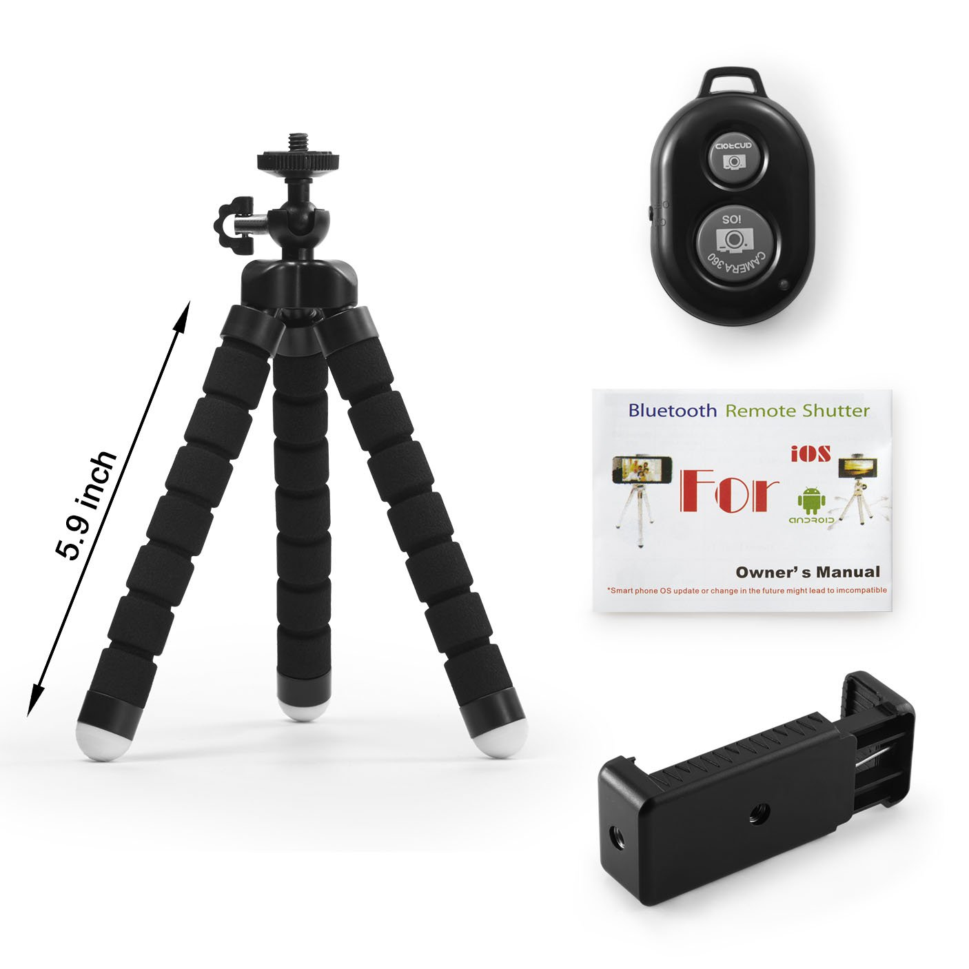 Nice Amazon.com: KCOOL Phone Tripod Stand Holder For IPhone, Cellphone ,Camera  With Universal Clip And Remote (Black): Cell Phones U0026 Accessories
